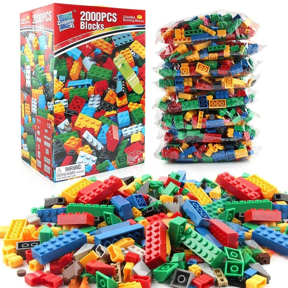 INUO 2,000 Sets of Building Bricks, 2,000 Classic Building Blocks for Children in 12 Styles, Aged 3 4 5 6 7 8 9 10 Years Old Boys and Girls