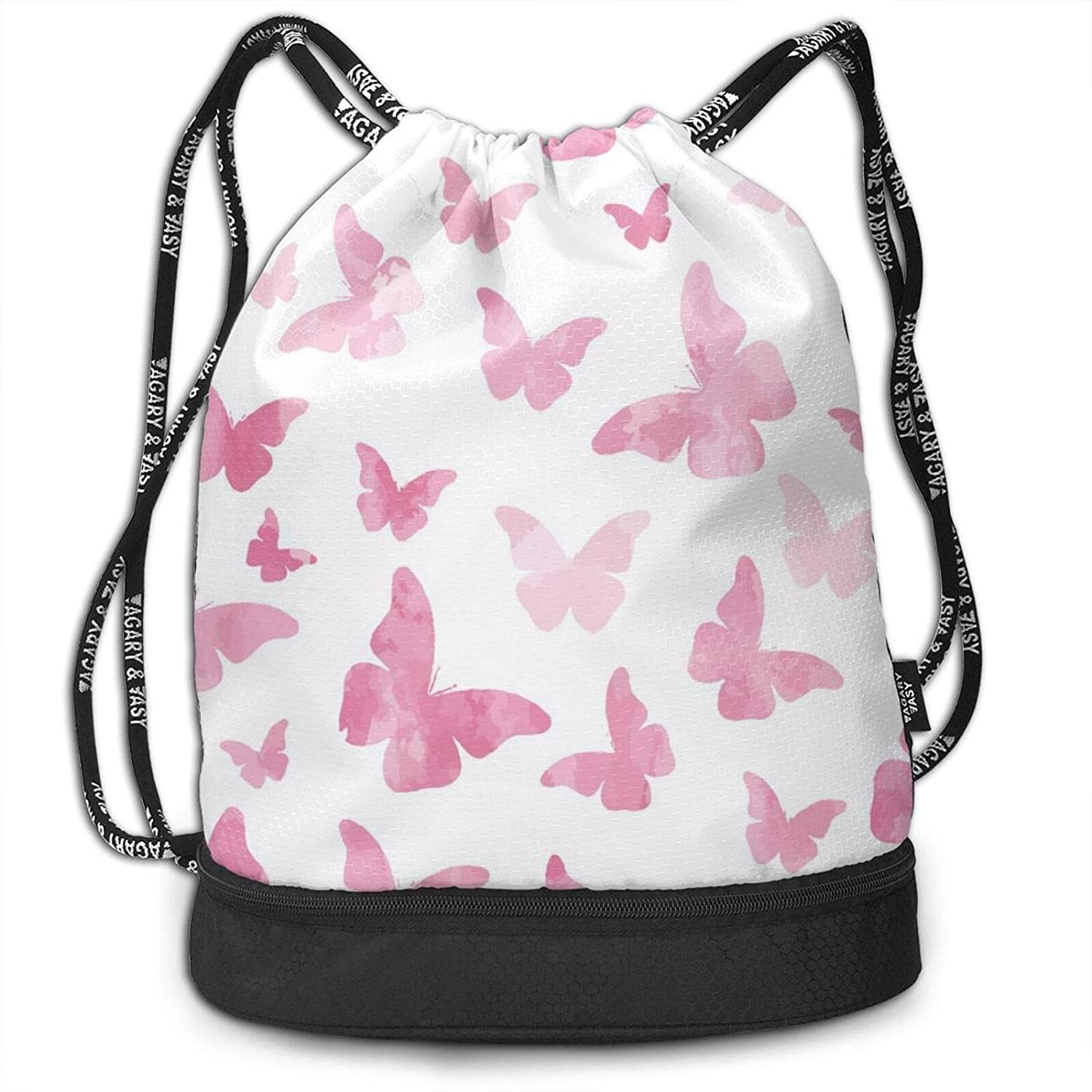 D-WOLVES Graphic Drawstring Bags Basketball Bulk Large Size Drawstring Backpack With Zipper Compartment Cinch Fashion Bags With Pattern Watercolor Pink Butterflies Pattern