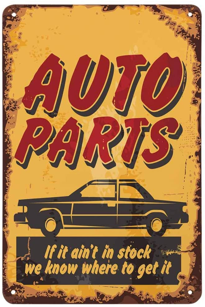 AOYEGO Auto Parts Tin Sign,Car and Lettering On Yellow Background Vintage Metal Tin Signs for Cafes Bars Pubs Shop Wall Decorative Funny Retro Signs for Men Women 8x12 Inch
