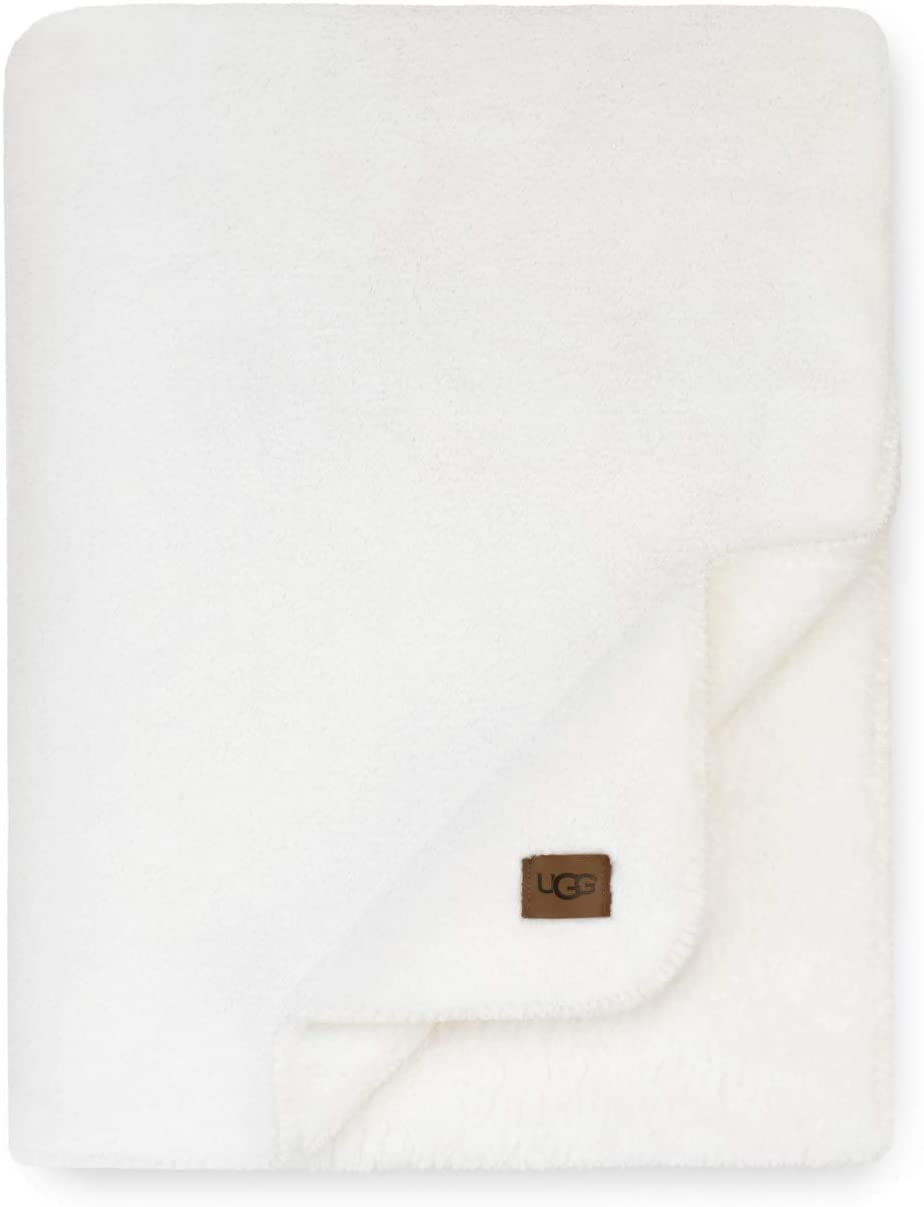 UGG Whitecap Plush Flannel - Oversized Throw Blanket, Snow