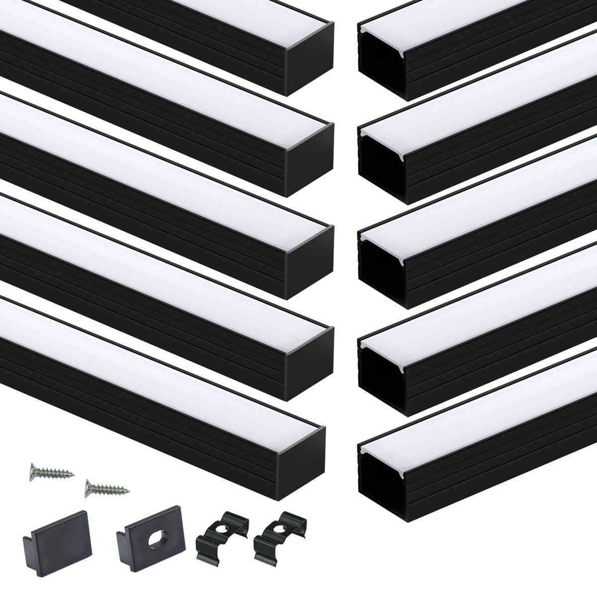 Muzata Black LED Channel with Spotless Lighting Effect Frosted Diffuser Cover,16mm Wide Aluminum Profile Track for Waterproof Strip Light Philips Hue Plus 10Pack 3.3Ft U103 BW,LU2 LP1 LN1 LW1
