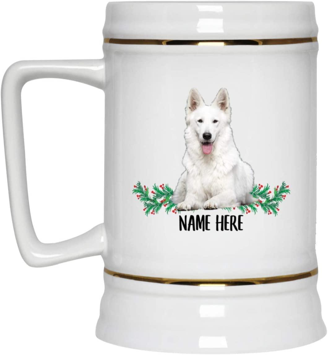 Funny Personalized Gifts German Shepherd White Beer Stein Mug for Men Ceramic 22oz