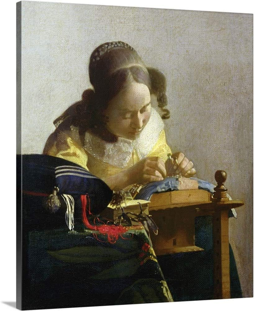 Johannes (1632-1675) Vermeer Solid-Faced Canvas Print Wall Art Print Entitled The Lacemaker, 1669 70 20