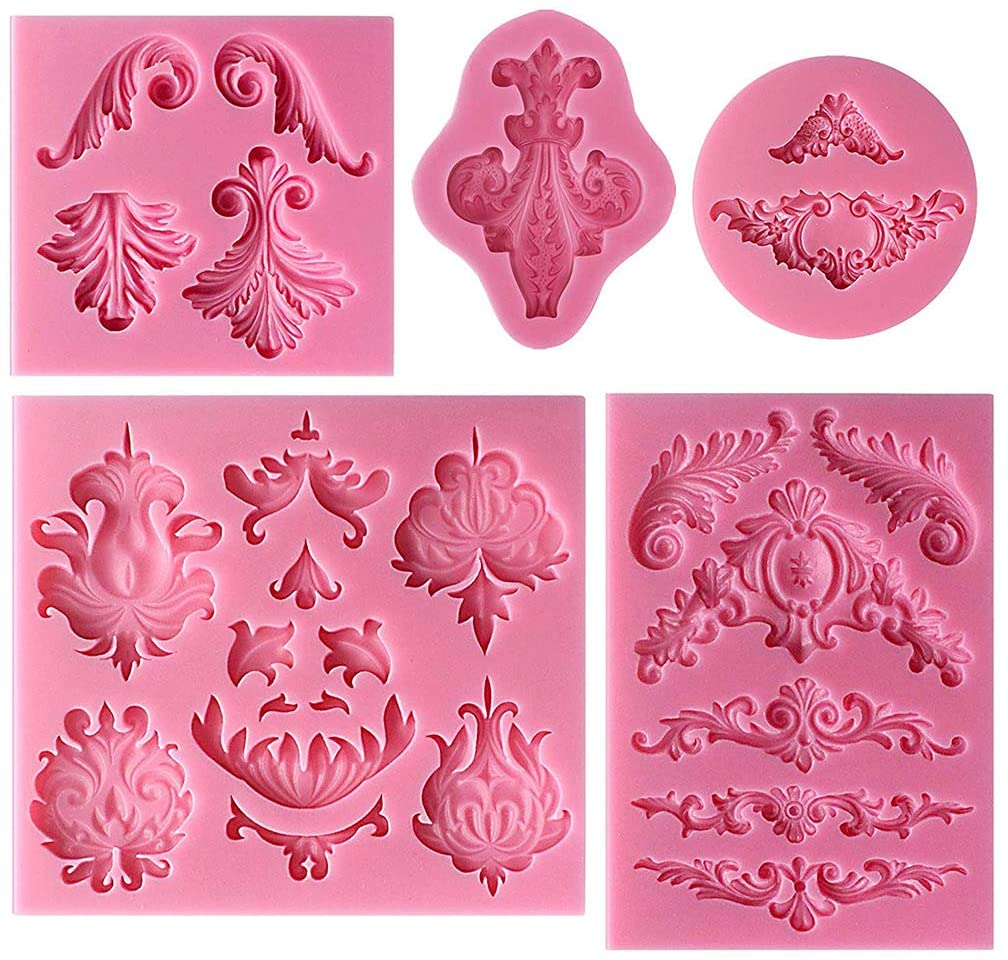 YOUAI Cake Mould, 5 Pieces Baroque Style Lace Fondant Silicone Mold for Cake Cupcake Jewelry Decor