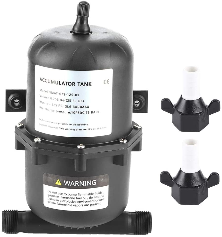 Acouto Accumulator Tank for Boats,Accumulator Pressure Tank Water Pump Flow Control 0.75 L 125PSI Waterproof for Marine RV Boat
