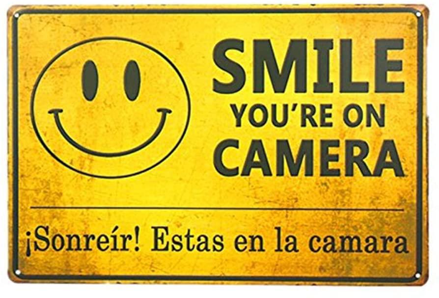 Vintage Garden Garage Decor Smile You're on Camera Video Surveillance Sign Retro Tin Poster (M0090)