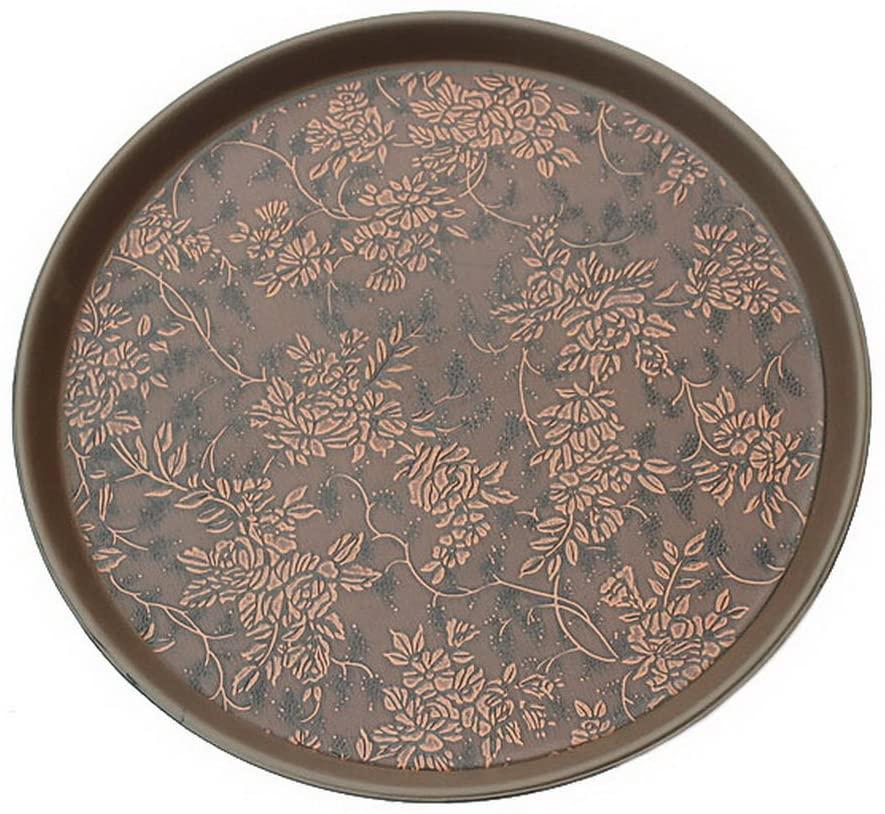 Circular Non Slip Grape Pattern Plastic Tray Elegant Decorative Tea Trays 35cm