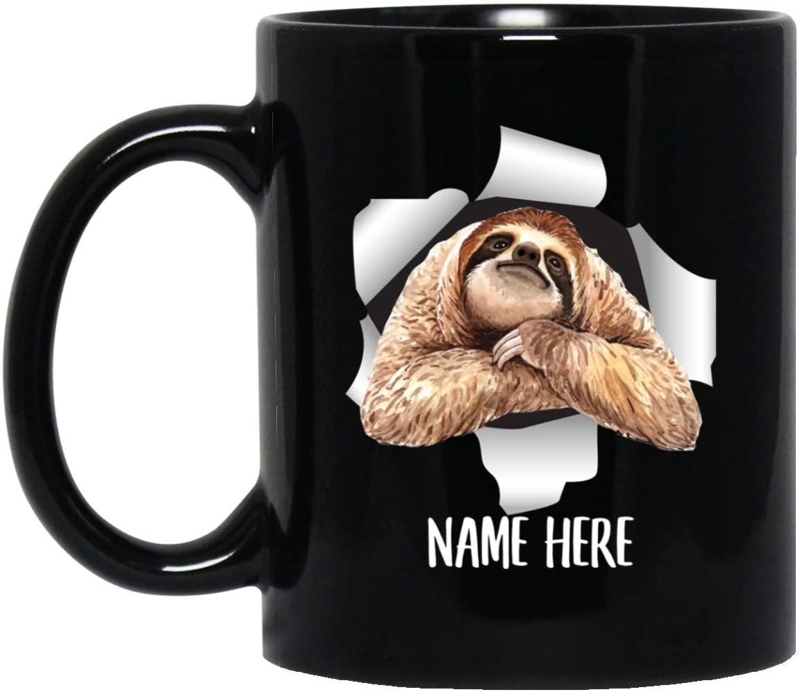 Funny Personalized Sloth Custom Name Black Coffee Mug 11oz