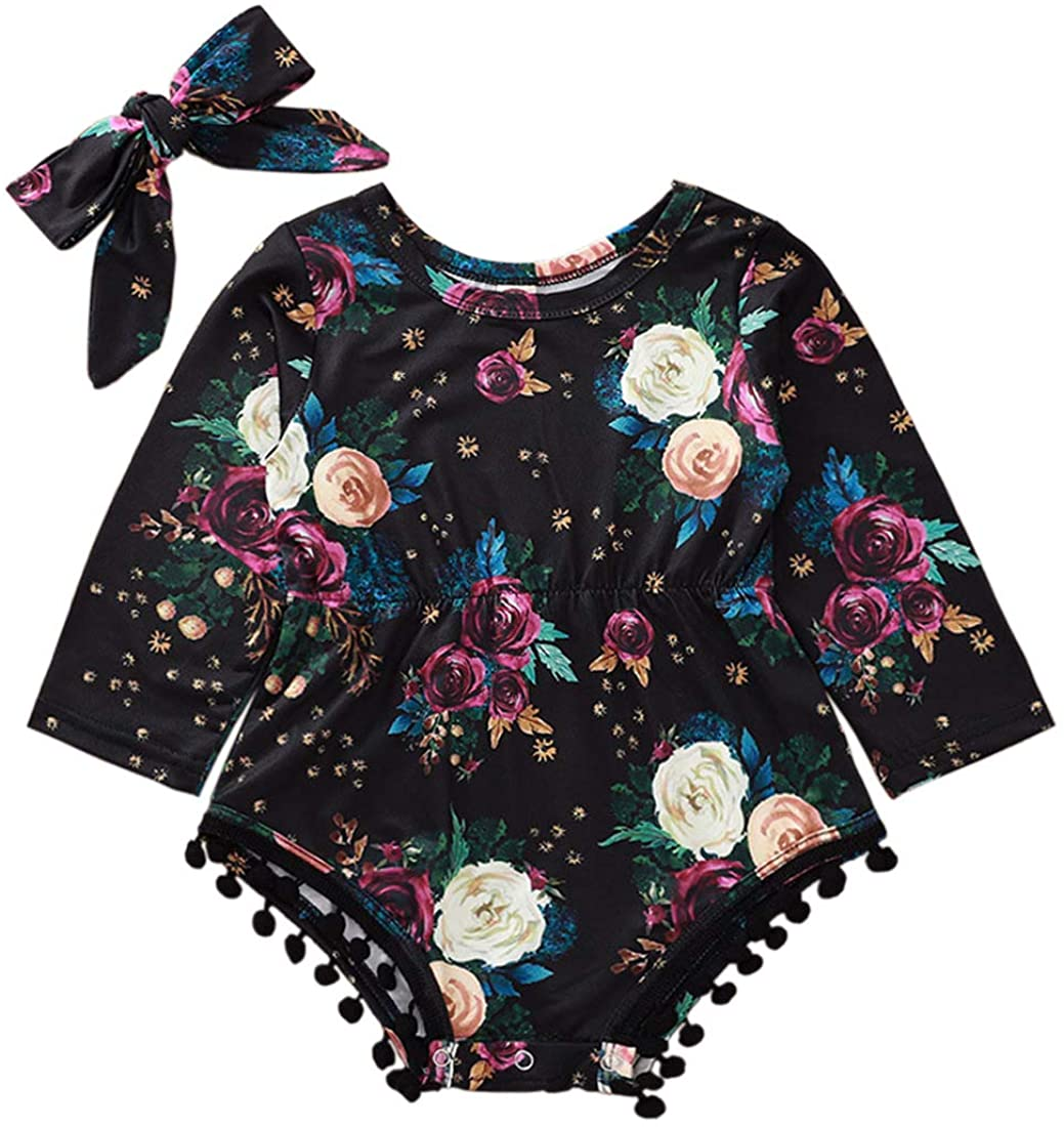 Newborn Baby Girls Clothes Tassels Romper Long Sleeve Jumpsuit Playsuit + Headband 2 Pieces Infant Outfits Set