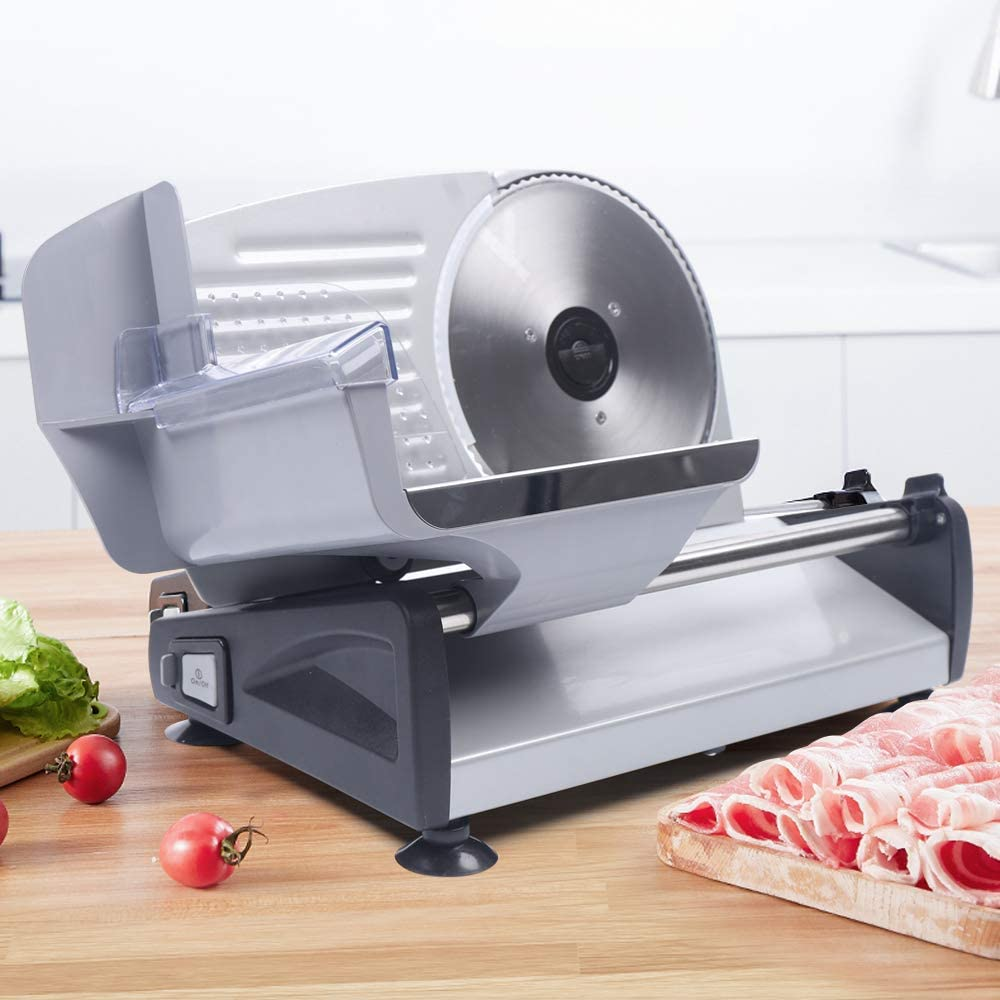 Commercial Stainless Steel Meat Slicer, Electrical Slicing Machine Bread Frozen Meat Cutter Mutton Food Cutter, Cheese Food Electric Deli Slicer Veggies Cutter 110V