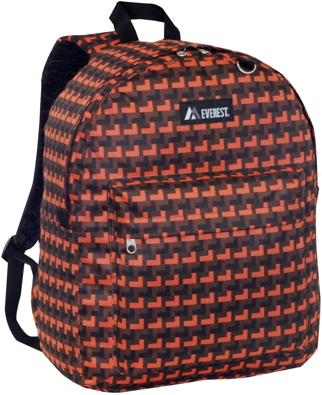 Everest Classic Pattern Backpack, Orange, One Size