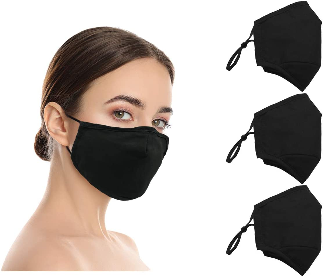 Amba7 Washable Reusable Breathable Cloth Face Mask - Machine Washable Double Layer Protection, Unisex (US Instock) (3pc - Cotton Black, 3-Pack)
