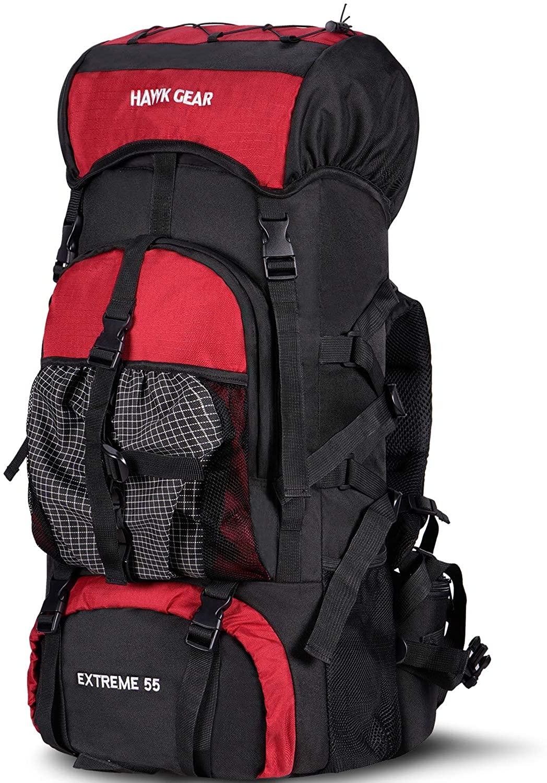 HAWK GEAR Internal Frame Backpack 3400CI/55L Large Capacity with Rain Cover High-Performance, Waterproof