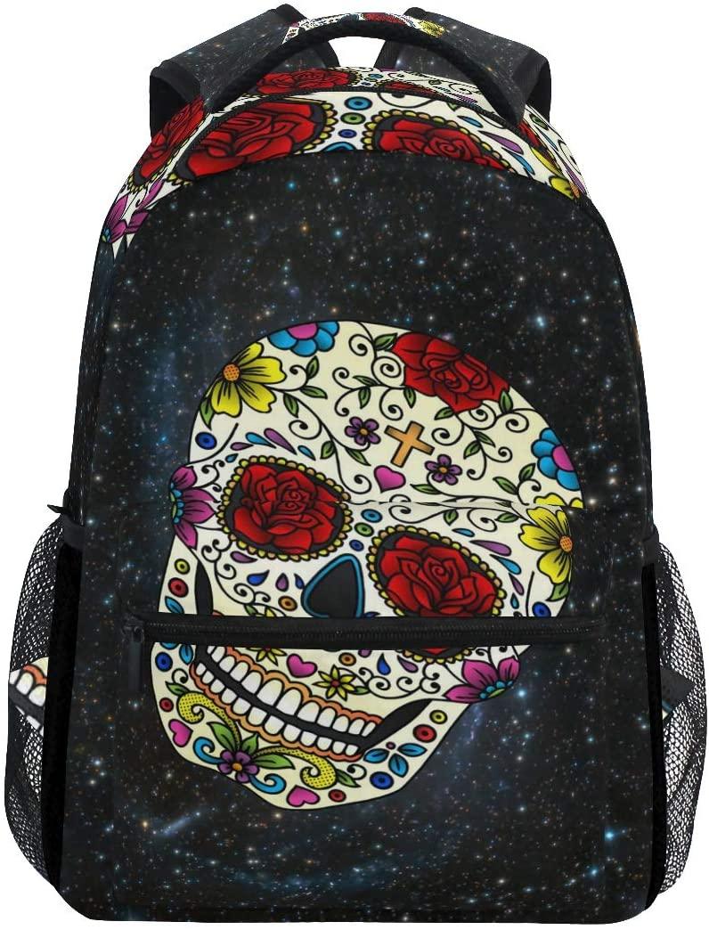 Skull Flowers Space Nebula Star Backpacks Travel Laptop Daypack School Bags for Teens Men Women