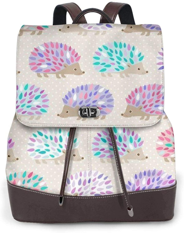 KACNENGH Women's Leather Backpack,Hedgehog Polkadot Printed Leather Fashion Backpacks Travel Daily Backpacks