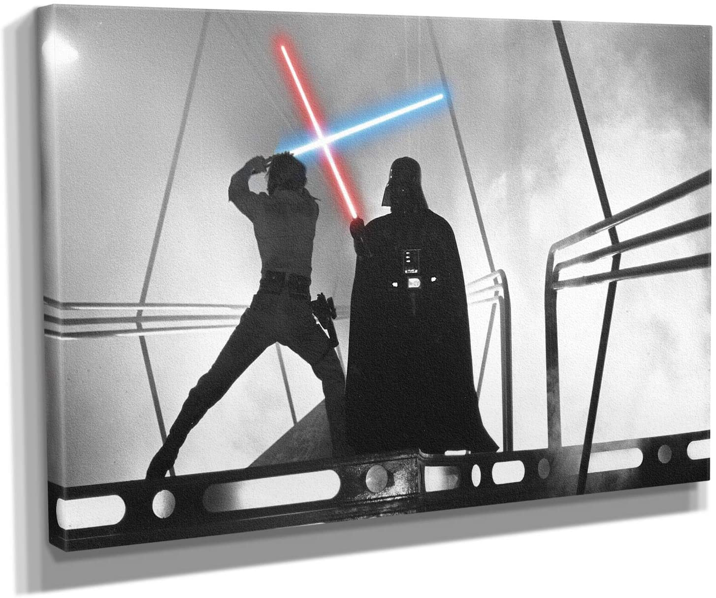 Star Wars - Luke Skywalker - Darf Vader Fight Scene Canvas Wall Art Print - Various Sizes (30in x 45in Gallery Wrapped)