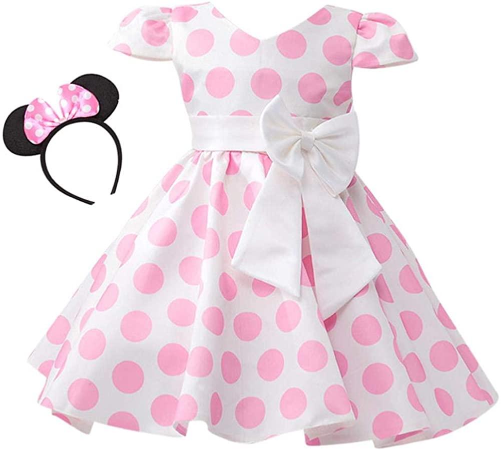 Toddler Girls Polka Dot Princess Costume Christmas Halloween Birthday Party Dress with Mouse Ears Headband Kids Cosplay