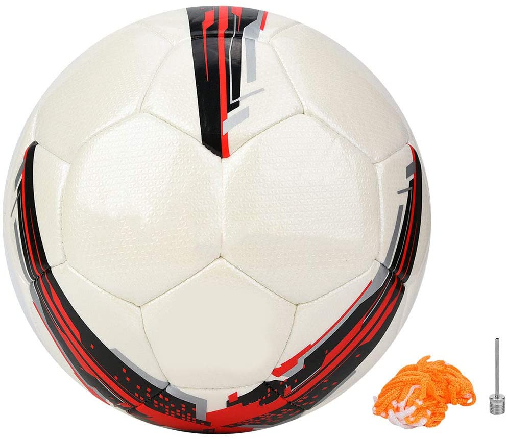 OhhGo Outdoor Sports Soccer Football Ball Competition Training Official Size 5 Net Needle (Red)