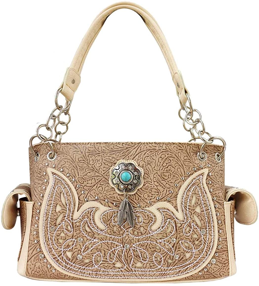 Western Tooled Leather Laser Cut Floral Concealed Purse Cowgirl Shoulder Bags in 5 colors