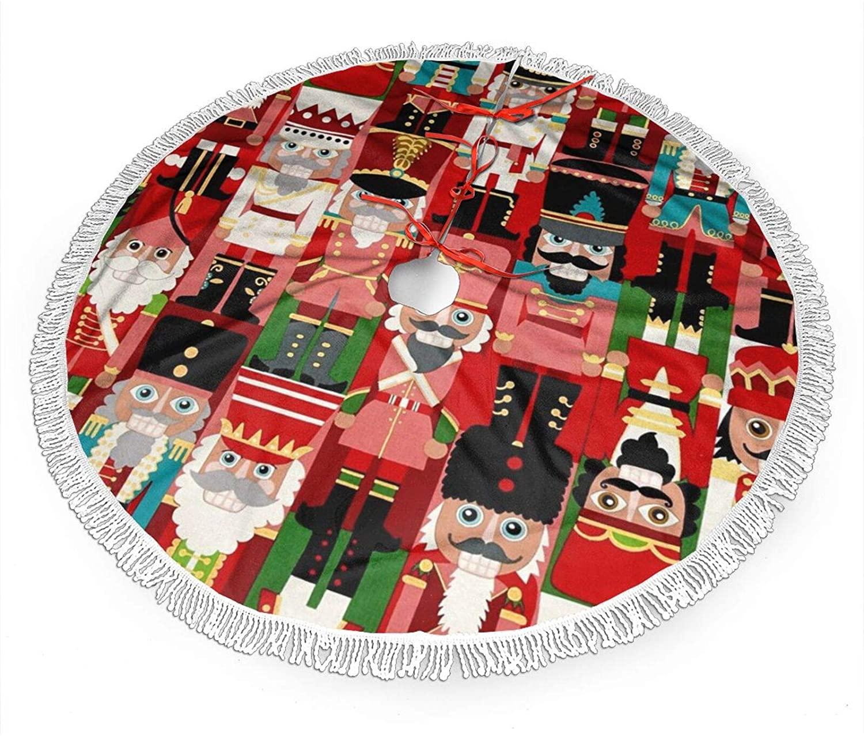 FREEHOTU Christmas Time Nutcracker Sweet Christmas Tree Skirt Gorgeous Edge Tassel Lace for 36
