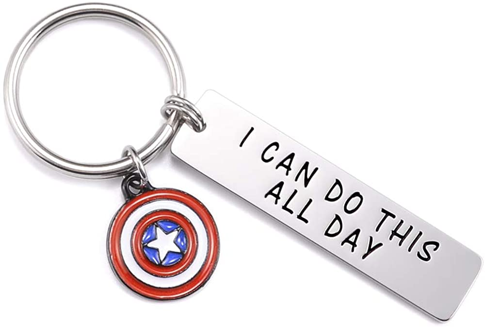 VGWON I CAN DO THIS ALL DAY Keychain Captain America Inspiration for Boys