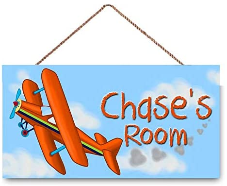 ROONASN Personalised Bright Airplane Plane Pilot Aviator Boys Bedroom Baby Nursery Funny Hanging Wall Art Sign Home Door Décor