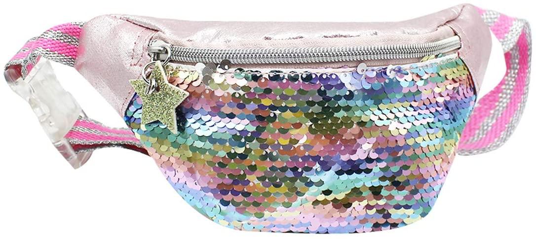 Girls Waist Pack Glitter Reversible Rainbow Sequin Fanny Pack Cute Small Causal Belt Bag for Kids