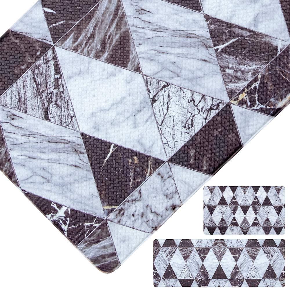 RORA Kitchen Rugs Mats Runner Set 2 Piece PVC Oil Stain Resistant Comfort Cushion Non Slip Heavy Duty Standing Kitchen Laundry Room Floor Mat Waterproof Kitchen Doormat Marble