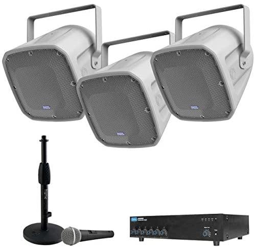 Atlas Sound FS Series Arena Horn Loudspeaker Bundle with AA400PHD 400 Watt Mixer Amplifier - Stadium PA Sound System (6 items)