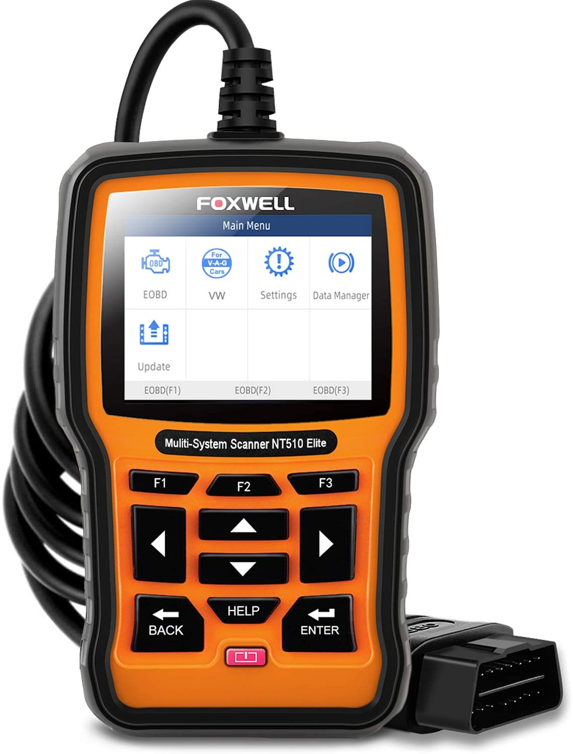 FOXWELL NT510 Elite Automotive Code Reader for VAG Full Systems Diagnostic Scanner on VW Audi Seat Skoda OBD2 Car Scan Tool All Functions Reset ABS SRS SAS EPB TPMS Oil Light with Active Test