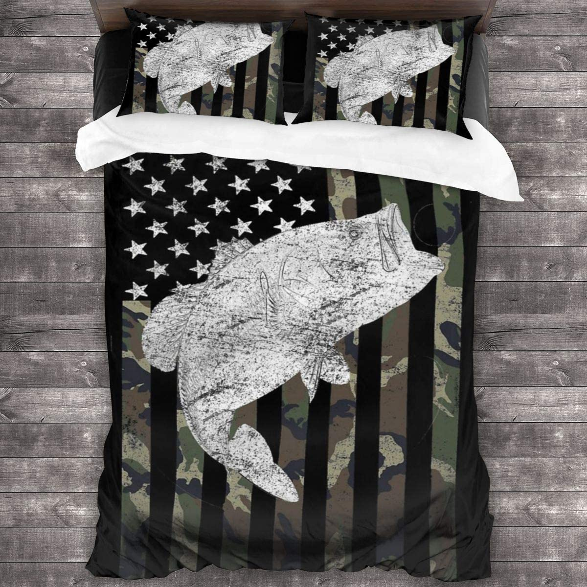 Green Camo Camouflage Flag Bass Fishing Angler Home Collection 3 Piece Quilted Reversible Coverlet Pillow Cover Bedding Set With Zipper Closure Comforter Sets For All Season 86 X 70 Inch