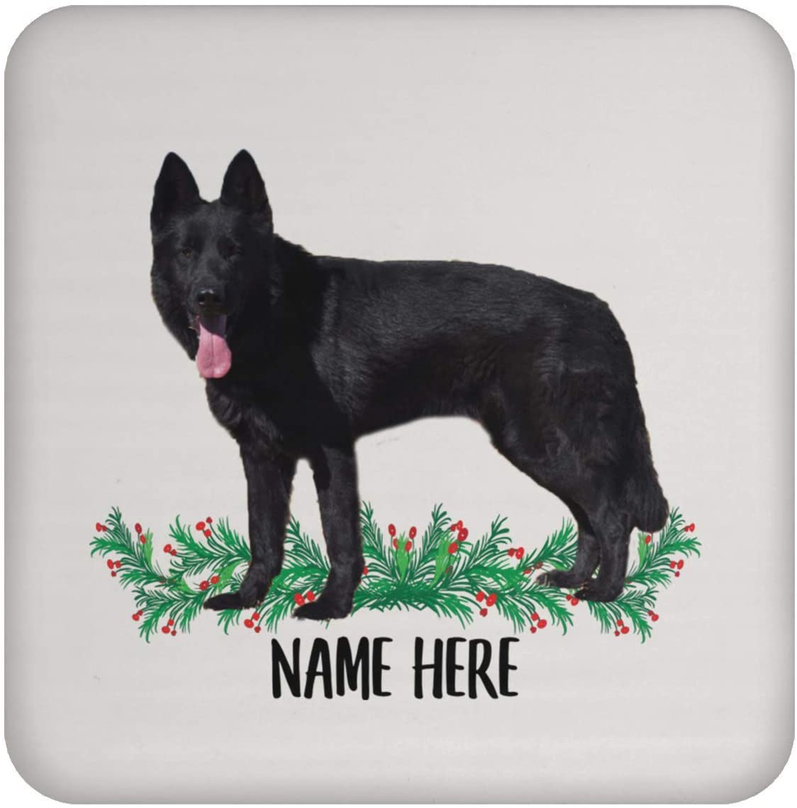 Funny German Shepherd Black Personalized Name Gift for Mom Coasters for Drinks