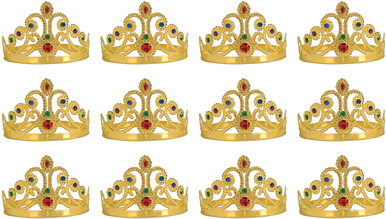 Beistle 12-Pack Plastic Jeweled Queen-Feets Tiara, Gold