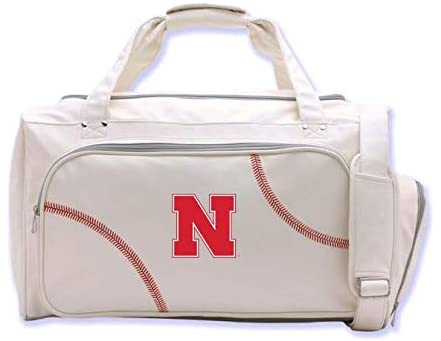 Zumer Sport Nebraska Cornhuskers Baseball Leather Travel Kit Duffel Gym Bag - made from actual baseball materials - Shoulder Strap and Handles - Shoe Compartment - White