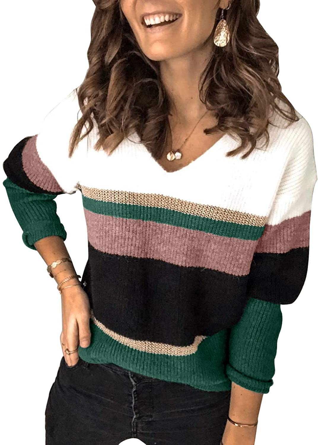CORAFRITZ Women's Winter Casual Loose Long Sleeve V Neck Color Block Striped Slouchy Warm Jumper Sweater