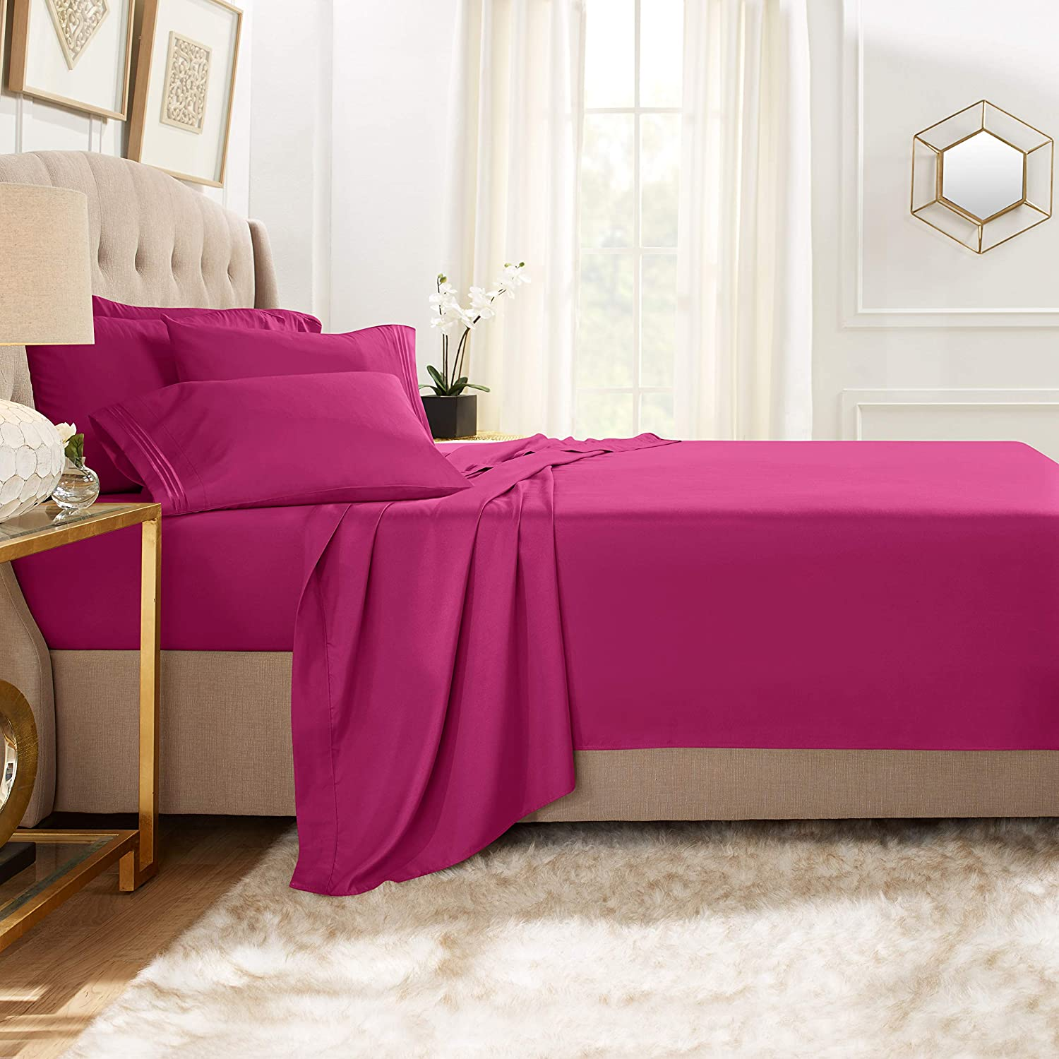 Clara Clark Premier 1800 Collection Bed Sheet Set with Extra Pillowcases Wrinkle, Fade & Stain Resistant, Queen, Magenta