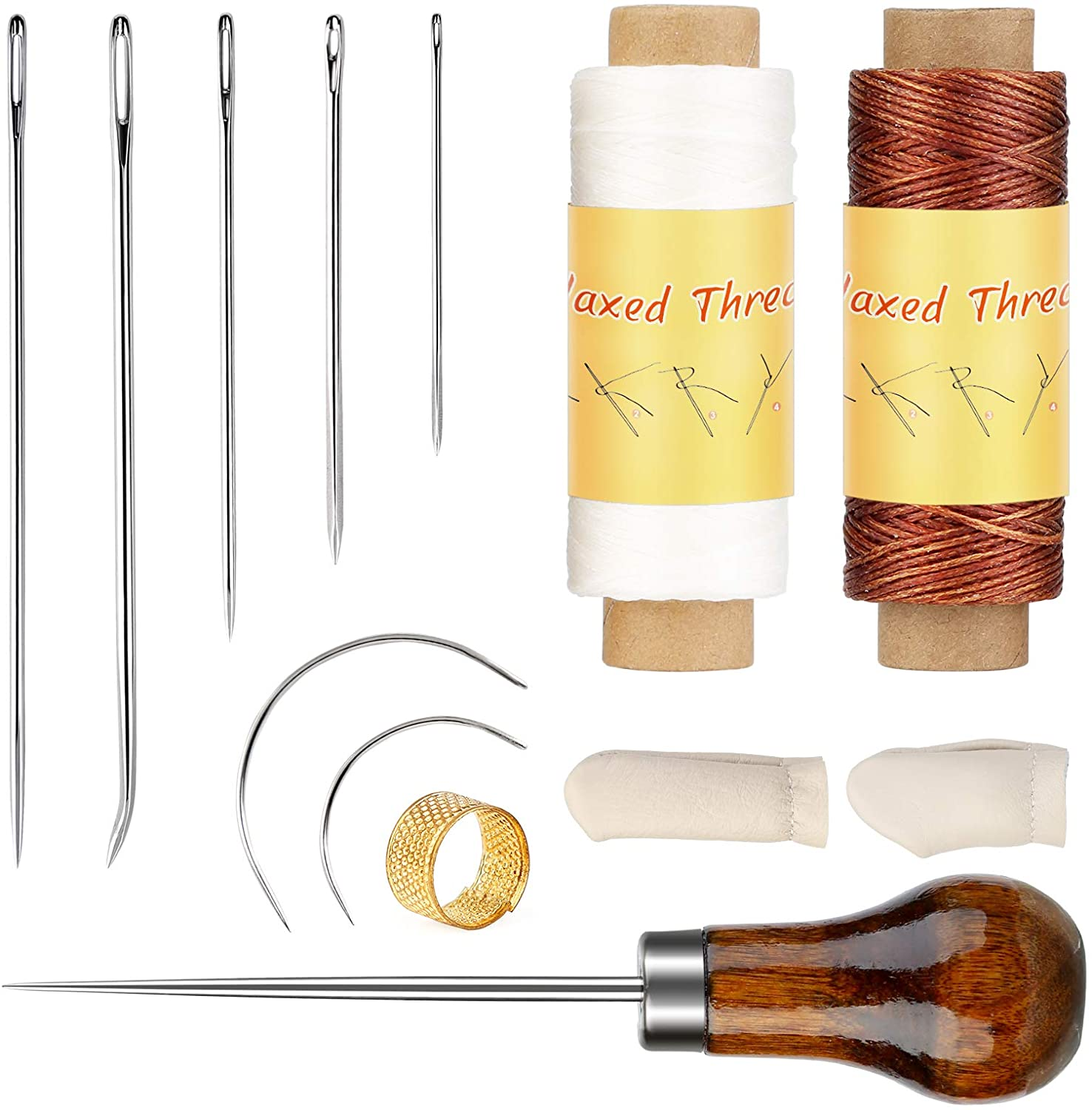 BUTZIE BUTZUE Upholstery Repair Kit, Leather Sewing Kit with Leather Upholstery Needles, Leather Sewing Waxed Thread, Sewing Awl, Finger Cots, Thimble for Leather DIY Stitching Repair Sewing