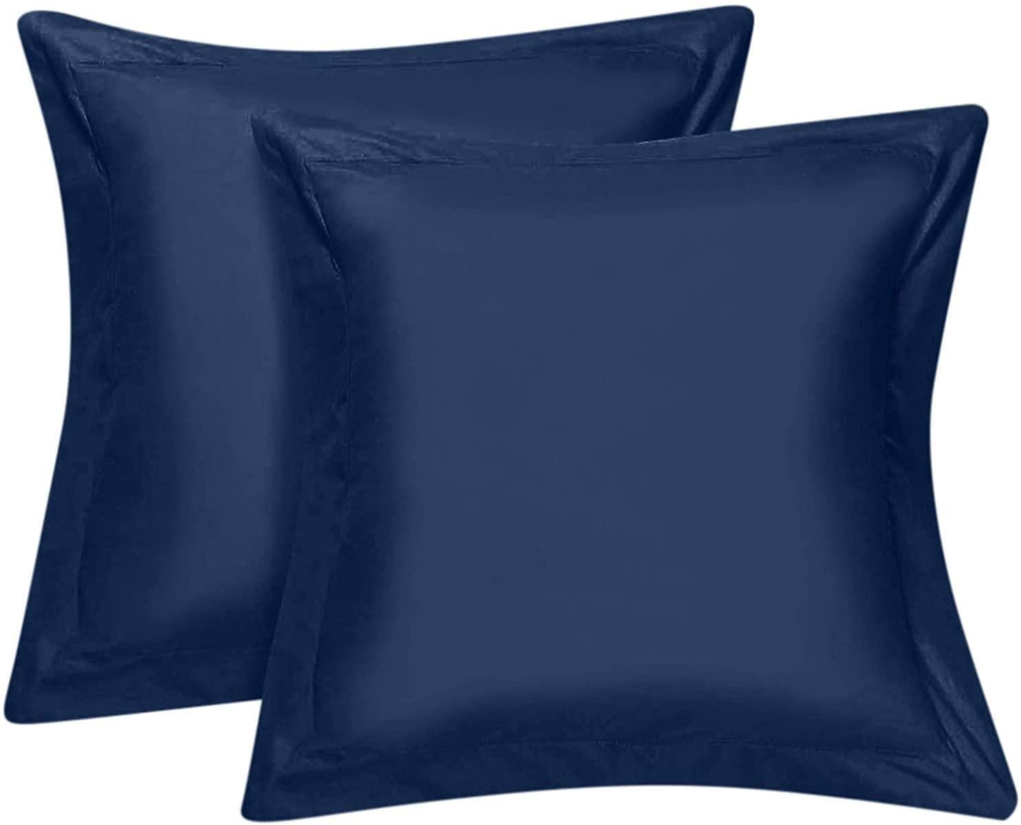 European Square Pillow Shams Set of 2-600 Thread Count 100% Natural Cotton European 24x24 Navy Blue Euro Pillow Shams Cushion Cover Soft Decorative Bed Pillow Shams (Navy Blue,Euro 24x24)