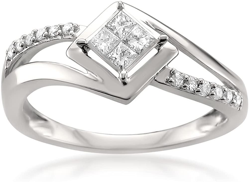 14k White Gold Princess-cut & Round Diamond Invisible-Set Engagement Ring (1/4 cttw, I-J, I1-I2)