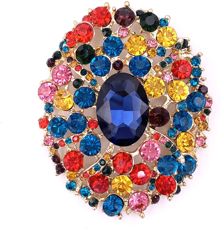 SELOVO Big Large Rhinestone Multicolor Oval Glitter Brooch Pin Jewelry Accessory Gold Tone