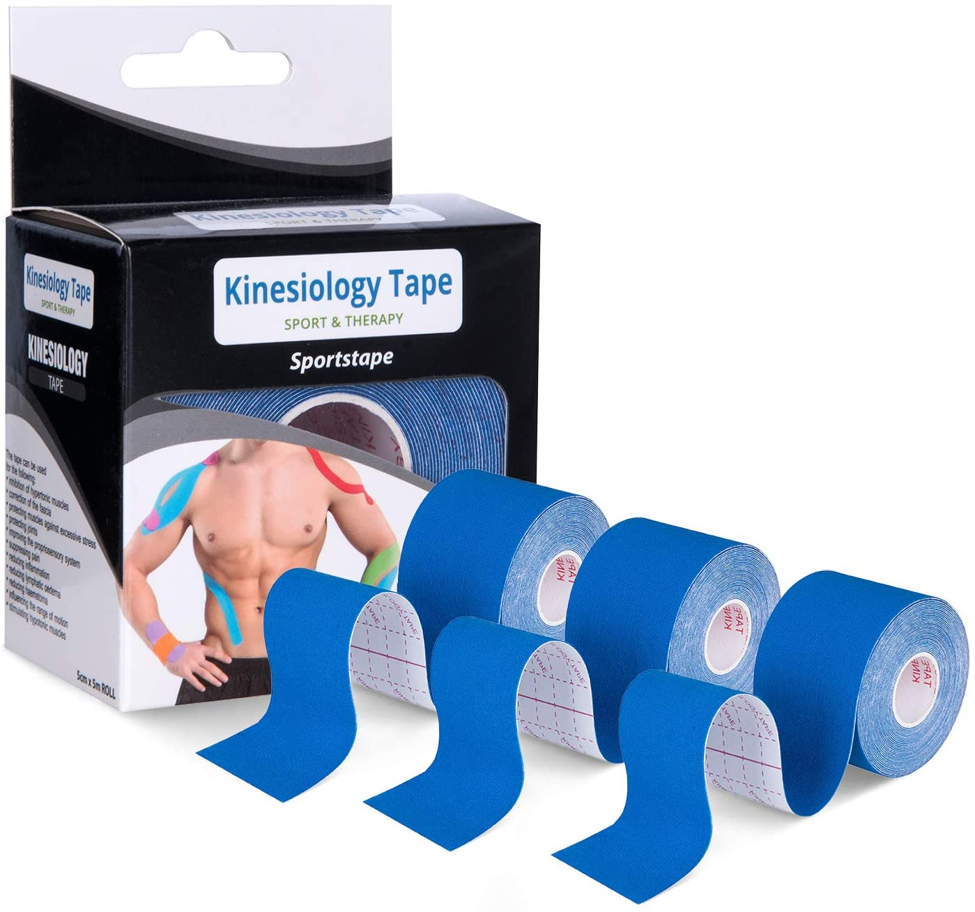 HMJWEN Kinesiology Tape 3 Pack Blue Waterproof Athletic Tape 2 inch Muscle Tape 16.4ft Uncut Roll, Latex Free, Sports Tape for Pain Relief & Support for Shoulder, Knee, Muscle, Wrist, Back