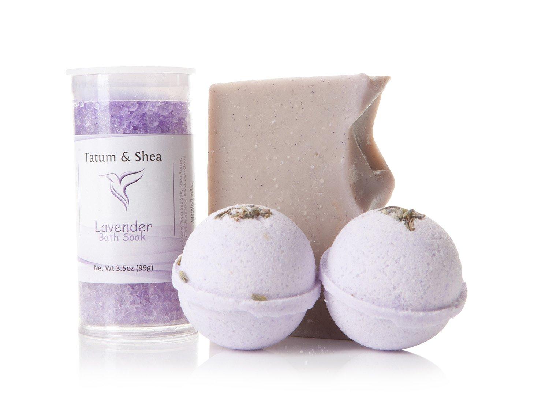 Bath/Spa Gift Set   Natural Handmade Lavender Soap Bar, Lavender Scented Dead Sea Bath Salts, 2 Lavender Fizzy Bath Bombs   Gift Boxed   Made in the USA by Tatum & Shea (Lavender)