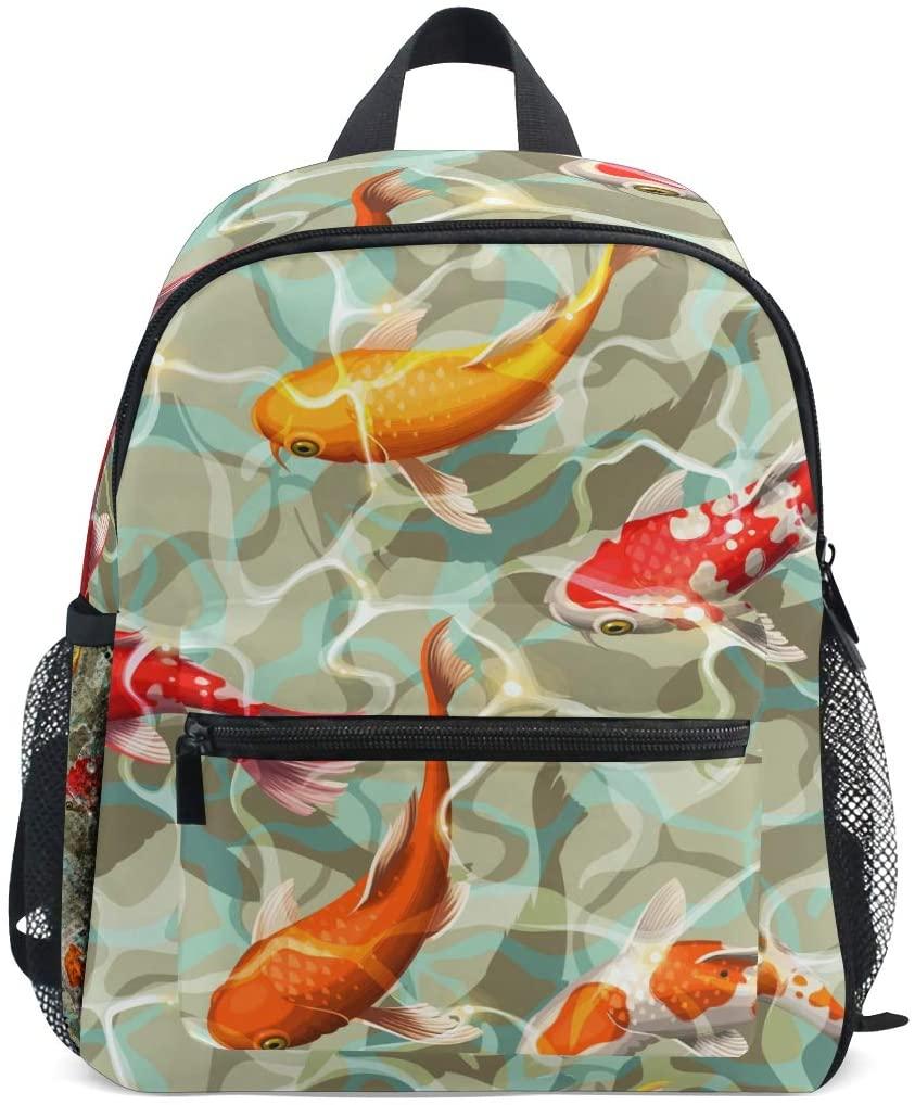 Linomo Japanese Koi Kids Backpack Daypack Rucksack Bookbag Preschool Toddler Backpacks Kindergarten Shoulder Bag for Boys Girls Child