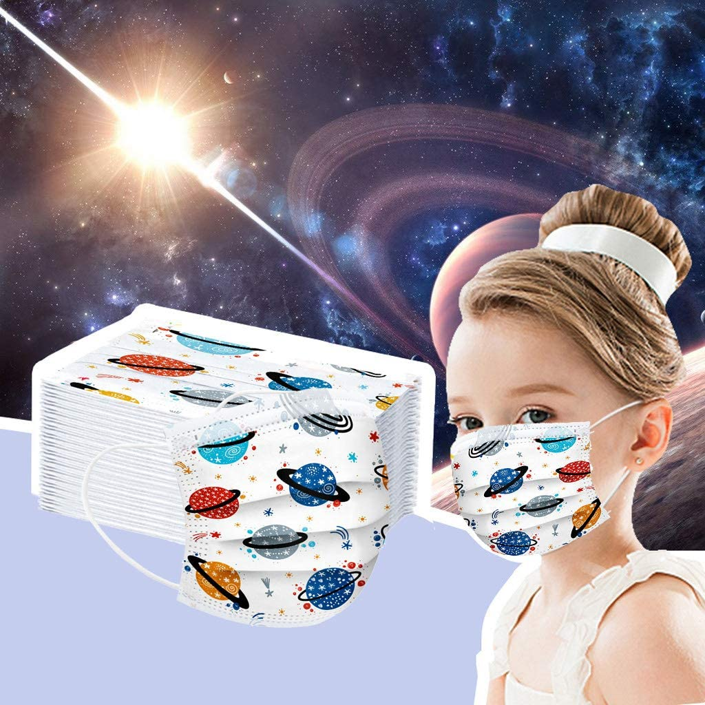 Osibinmo Universe Disposable Face Bandanas Face_Mask Face Health Protection Disposable and Breathable,Child Size Face Health Protection,Anti-Haze Dust,Protection for Kids (20/50/100pcs)