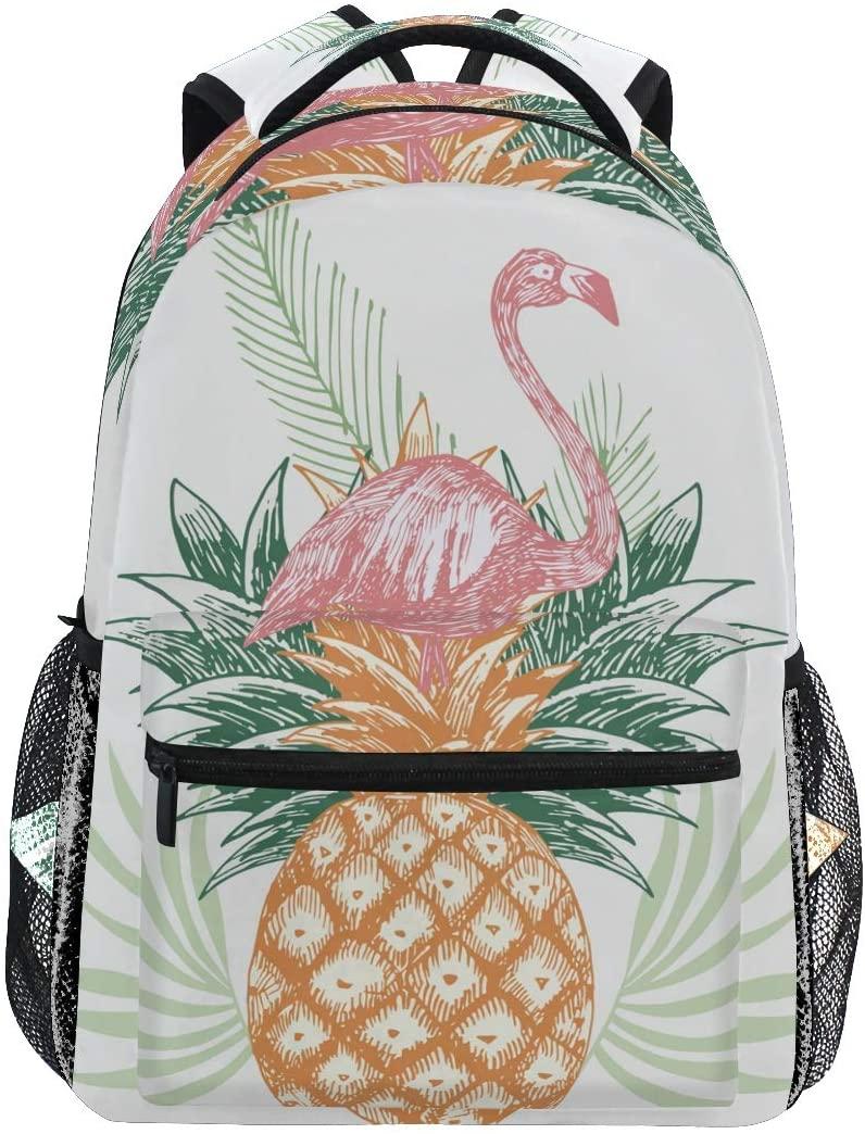 Vintage Pink Flamingo On Pineapple Backpacks Travel Laptop Daypack School Bags for Teens Men Women