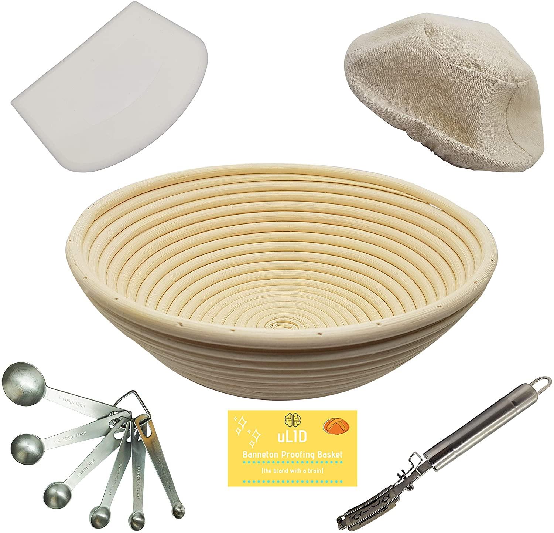 10 Inch Banneton Proofing Basket, Metal Bread Lame, Heavy Duty Dough Scraper, Measuring Spoon THE essential set by uLID (Rattan & Wicker)