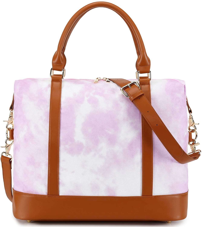 Women Ladies Weekender Bag Overnight Carry-on Tote Duffel in Trolley Handle (Tie Dye Pink 2)