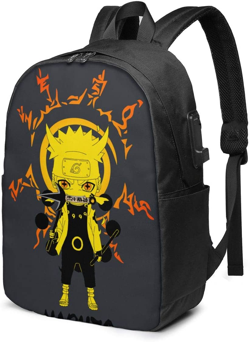 17-Inch Backpack with USB Port Naruto Backpack for Any Travel