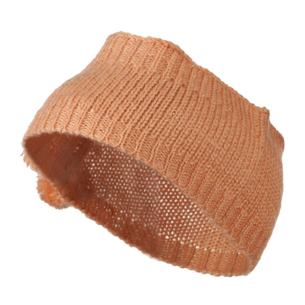 Knit Headband with 3 Pom Pom - Peach OSFM