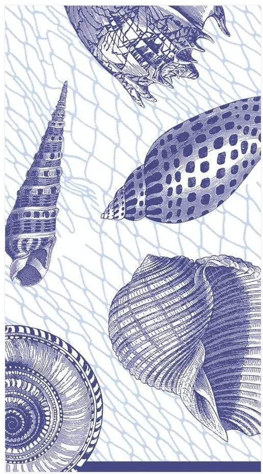 Caspari Netting and Shells Paper Guest Towel Napkins in Blue, 15 Per Package